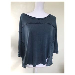 Free People Distressed Studded Tee Navy Small